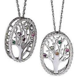Silver Tone Family Tree Birthstone Pendant