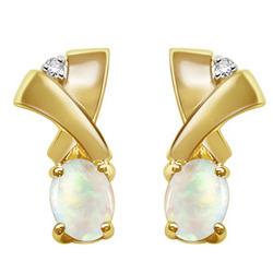 Opal Earrings in 14K Yellow Gold