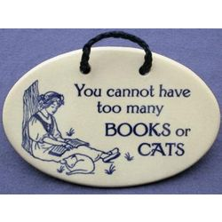 Handcrafted Books and Cats Ceramic Wall Plaque