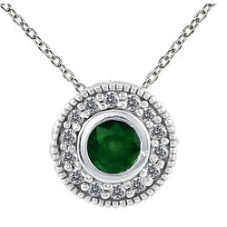 Diamond and Emerald Pendant in 10k White Gold