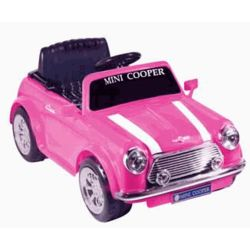 Battery Powered Mini Cooper Ride-On in Pink