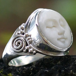 Face of the Moon Cow Bone Ring