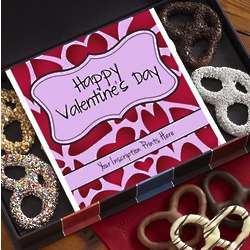Personalized Happy Valentine's Day Chocolate Pretzel Box