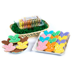 Bunny Smiley Cookies and Chocolate Dipped Bunnies Gift Basket