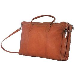 Tan Leather Double Top Zip Briefcase
