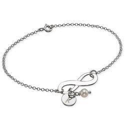 Sterling Silver Infinity Bracelet with Initial Charm