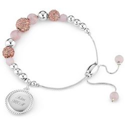 Personalized Rose Quartz Pave Lariat Bracelet