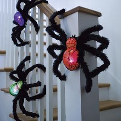 Fuzzy Light-Up Halloween Spiders