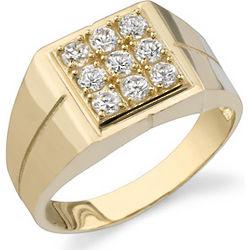 Men's 14K Yellow Gold 9 Stone CZ Ring
