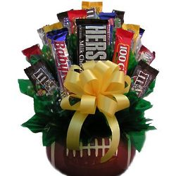 Candy Bouquet in Ceramic Football Vase