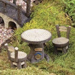 Tree Stump Fairy Garden Bistro Table Set with Bridge