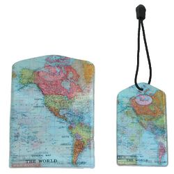 World Map Bag Tag and Passport Cover Set