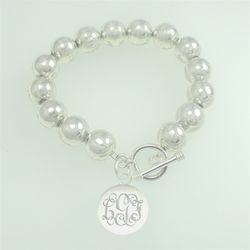 "7"" Sterling Silver Bead Bracelet with Charm"