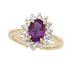 Morning Glory Oval Amethyst and Diamond Ring