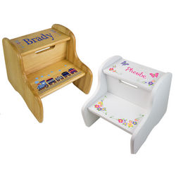 Kids Personalized Natural Fixed Step Stool