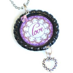 Bottle Cap Birthstone Love Necklace
