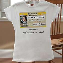 White Personalized Driver's License Birthday T-Shirts for Her