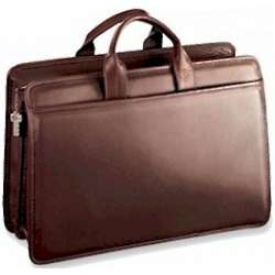 Double Gusset Platinum Edition Zip Top Leather Briefcase