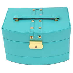 Triple Level Turquoise Leather Jewelry Box with Studs