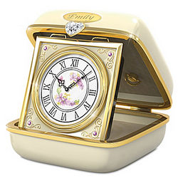 Personalized Music Box Travel Clock for Daughter