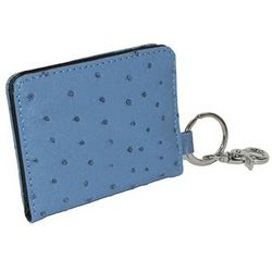 Faux Ostrich Print ID Key Chain Wallet