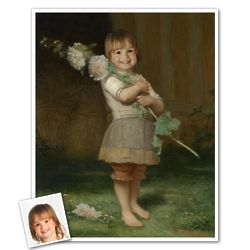 Girl with a Hollyhock Custom Portrait from Photo