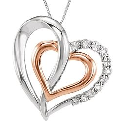 14K Rose Gold Accented Sterling Silver Diamond Heart Necklace