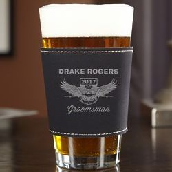 Wings Like Eagles Custom ThermaSleeve Bridal Party Pint Glass