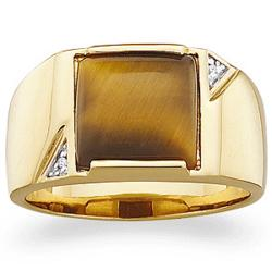 Men's Tiger's Eye Ring with Diamond Accent