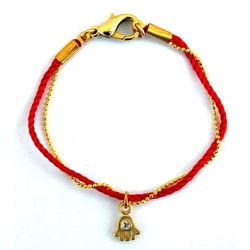 Threaded Gold Hamsa Kabbalah Red String Bracelet