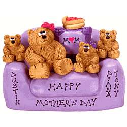Teddy Bear Mommy and Children in Love Seat