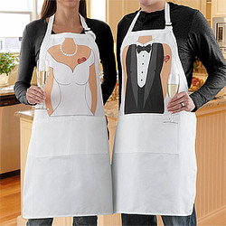 Bride & Groom Personalized Wedding Apron Set