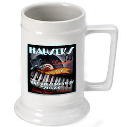 Personalized Beer Stein with Piano Bar Image