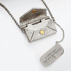 Silver Vintage Love Letter Necklace