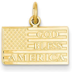 God Bless America Flag Pendant in 14 Karat Gold