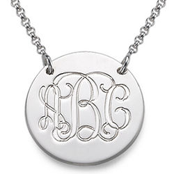 Personalized Monogram Silver Disc Necklace