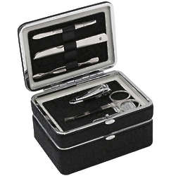 Black Five Piece Manicure Set and Jewelry Box