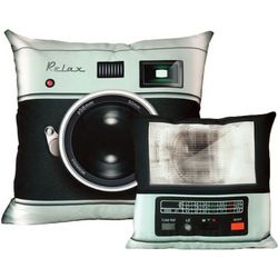 Retro Camera and Flash Pillow Set