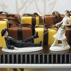 Western Wedding Roped Bride and Groom Cake Topper