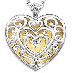 Daughter's Glowing with Beauty Heart-Shaped Diamond Pendant