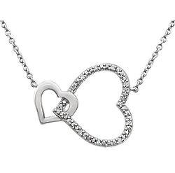 Interlocking Diamond Hearts Necklace in Sterling Silver