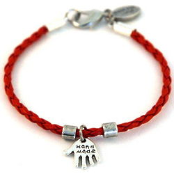 Braided Leather Kabbalah Hamsa Charm Bracelet