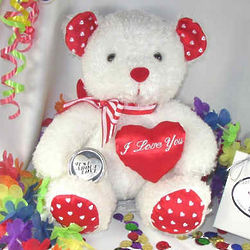 Silvertone Pocket Heart Love Coin with Celebration Bear