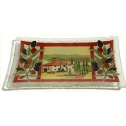 "Tuscan Villa 10"" Rectangular Fused Glass Tray"