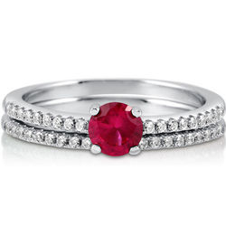 Red Cubic Zirconia Sterling Silver Bridal Ring Set