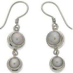 Two Full Moons Pearl Drop Earrings