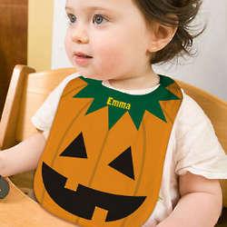 Personalized Jack-O-Lantern Baby Bib