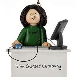 Personalized Female with Computer Ornament