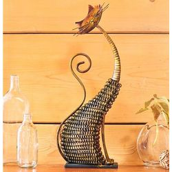 Metal Mesh Cat Tabletop Sculpture