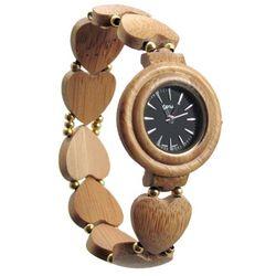 Ladies' Heart Bead Bamboo Wood Watch